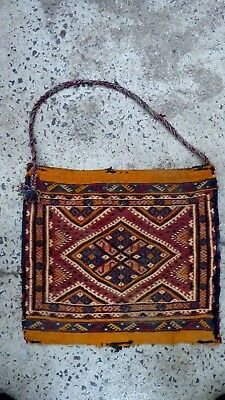 Antique Woven Persian Middle Eastern Carpet Bag Camel