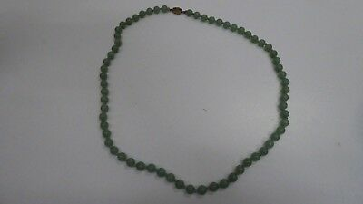 Old String Vintage Polished Jade Beads Gilded Silver Clasp Individually Knotted
