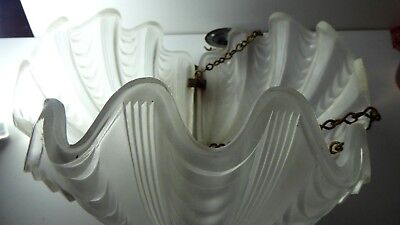 Art Deco Pressed Glass Clam Shell Light Shade Antique Hanging Shade Chrome Frame