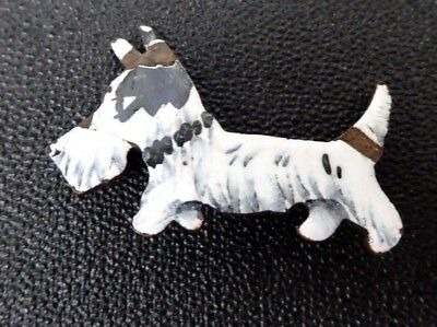 Art Deco Enamel Painted Brooch Scottie Dog