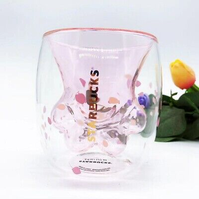 China 2019 Sakura 6oz Pink Starbucks Cat's Paw Double Wall Glass Mug Cup Stock