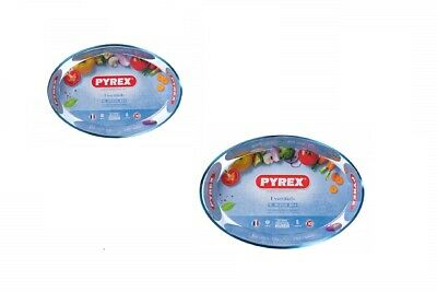 Pyrex 2L / 3L Heat Resistant Glass Oval Roasters Roasting Dish Bakeware Tray Pan