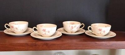 """4 THEODORE HAVILAND NEW YORK PINK SPRAY, 2""""  Cups and Saucers 8pcs. Excell. B28"""