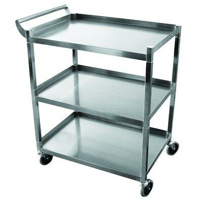 Commercial 3-Shelf Utility Service Bus Cart Stainless for Restaurant/Catering