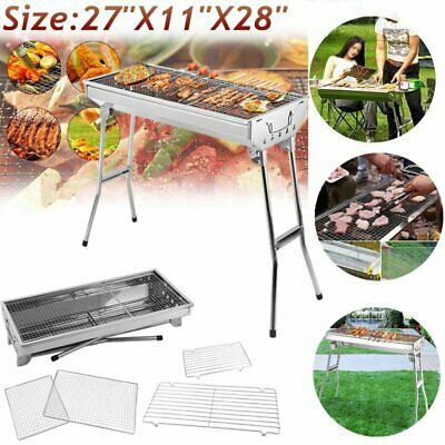 "29"" Fordable BBQ Charcoal Grill Stainless Steel Backyard Cooker Silver Party MY"