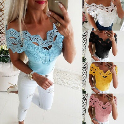 Women Lace Off Shoulder T Shirt Ladies Sexy Summer Short Sleeve Slim Tops Blouse