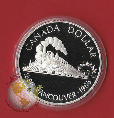 1986 Proof Silver CANADA One Dollar Coin Comes in Capsule Only - Train
