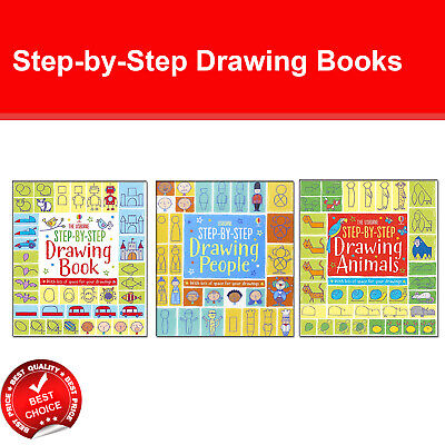 Usborne Step-by-Step Drawing 3 Books set by Fiona Watt pack Animals, People NEW