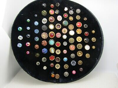Vintage to Victorian 81 Button Lot, Brass, Glass, Iridescent, Designs