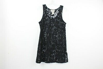 736c0da9be J Valdi Tunic Swimsuit Cover Up Size M Black Floral Embroidered Cruise Beach