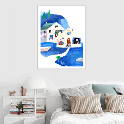 Abstract Watercolor House Canvas Painting Art Poster Kids Room Wall Home Decor