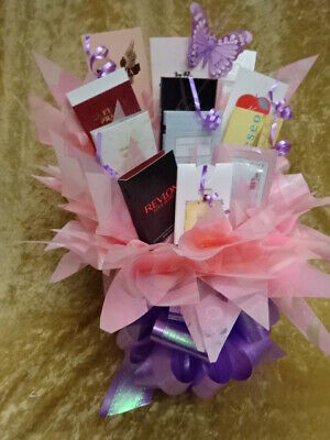 MOTHERS DAY Box Set Perfume Flower Bouquet Samples Ribbon Bow Birthday Gift