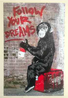 "Mr. Brainwash "" Follow Your Dreams "" Authentic Lithograph Print Pop Art Poster"