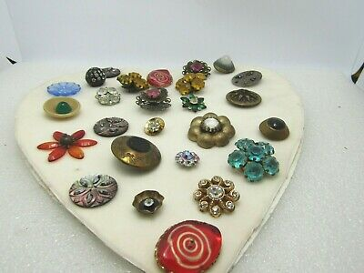 Vintage Victorian to 1930's Button Lot, Fancy Glass Designs, Large Buttons, 25+