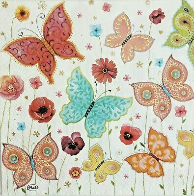 4 x paper napkins for decoupage, with butterfly.Servilletas mariposas.