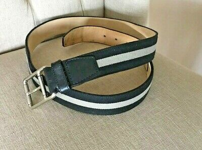 d06717c612cc54 LACOSTE Men s Leather   Canvas Belt Size 42 Black Gray Stripe Silver Logo  Buckle