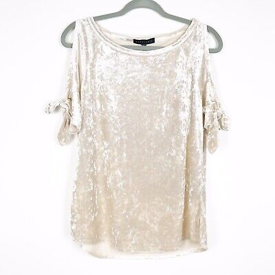 e538f45839b267 Womens Sanctuary Lou Lou Crushed Velvet Cold Shoulder T-shirt Blouse  69 Sz  M