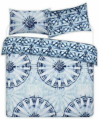 Blue Luxury Tie Dye Duvet Cover Set With Pillowcases Single Double King Size