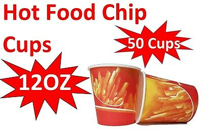 50x 12oz Chip Cup Hot Food Disposable Takeaway Chips Print Cups New