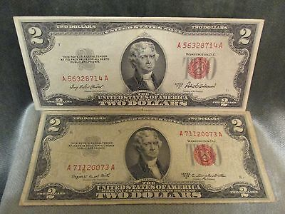 Circulated 1953 A & B Two $2 Dollar Bills United States Notes (2 BILLS)