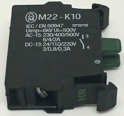M22-K10 EATON MOELLER Contact Block 6A 500V 1Pole M22 Series RMQ-Titan Screw 1NO
