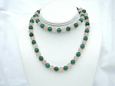 "VINTAGE 30"" DECO CHINESE EXPORT JADE & ROSE QUARTZ NECKLACE 10mm BEADS"