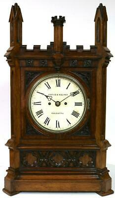 Antique English Double Fusee Bracket Clock Carved Oak Case Strike Cooke & Kelvey