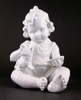 Girl with Cat white glazed Graefenthal Thuringia NEW 9943009