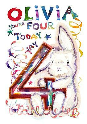 Personalised Birthday Card Four Today 4 Year Old Childs Cute Boy Girl Love