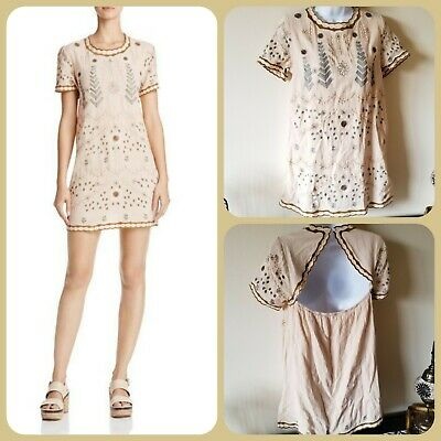 a89a63df5b2 Sadie   Sage Embroidered Backless Shift Dress Boho Cowgirl Size S