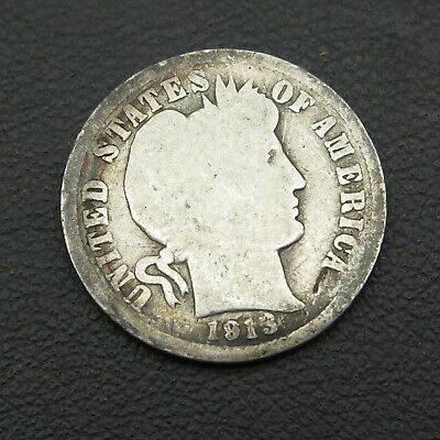 Antique 1913 Barber Liberty US Silver Dime 10 Cents G