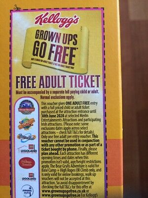 Kelloggs Free Entry Alton Towers Thorpe Park Legoland London Eye 2 For 1 Voucher