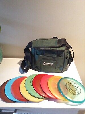Lot of 9 Used Frisbee Golf Discs In Various Sizes And Weights With Carry Case