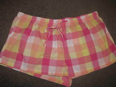Bnwt Ladies Pyjama Sleep Shorts Size 12 14 16 18 Cotton Pink Orange Yellow