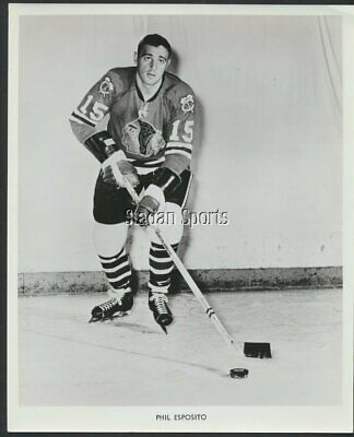 Phil Esposito Chicago Blackhawks Used For Group 3 Beehive NHL Hockey Press Photo