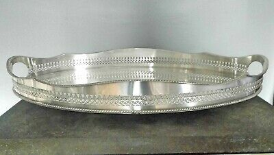 VINTAGE 1930s SHEFFIELD SILVER PLATED OVAL SERPENTINE GALLERY TRAY on 4 Bun Feet