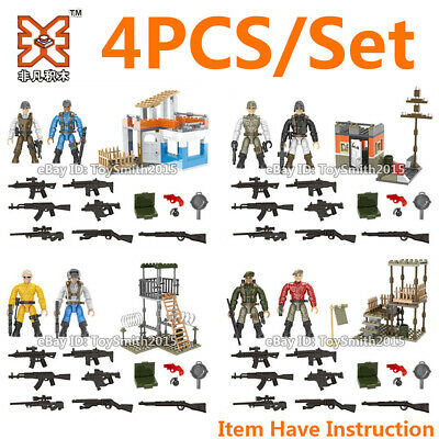 4X Mini City Military Special SWAT Police Soliders Building Bricks Figures Toy