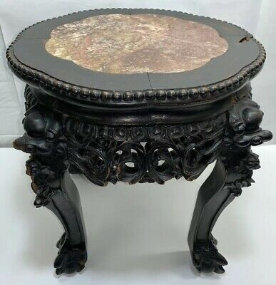 ANTIQUE 19c CHINESE MARBLE TOP SIDE TABLE, PLANT STAND- Just Under 16 Inches