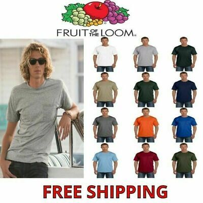 Fruit of the Loom Men's 100% Cotton Pocket T-Shirt S-3XL Tee 3930P