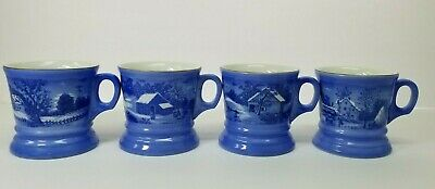 """Currier & Ives """"The Homestead In Winter"""" Collectible Mugs Set of 4"""