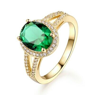 Vintage Green Crystal Emerald Oval Finger Rings For Women Ladies Party Jewellery