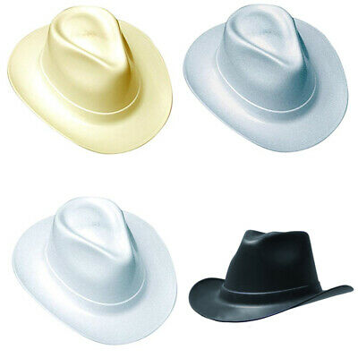 COWBOY STYLE HARD HAT w/Ratchet or Squeeze Suspension - WIDE BRIM - 4 COLORS