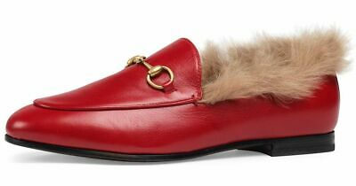 89505e40b Gucci New Jordaan Red Leather Beige Fur Princetown Loafer Mule Slipper Flat  36.5