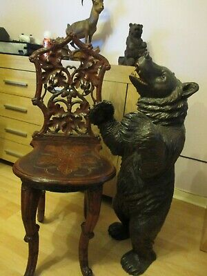 Rare Antique Black Forest Carved Chair  Wood Carving Swiss
