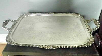 STYLISH 1952 VINTAGE SHEFFIELD SILVER PLATED ROCOCO BUTLERS TRAY Twin Handles