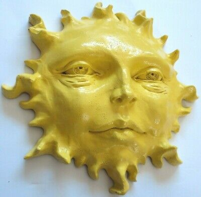 "Sun Face Sculpture 11"" Yellow Cast Stone Wall Art, by Claybraven Indoor Outdoor"