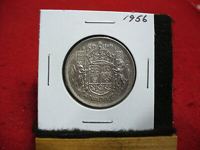1956  Canada  Silver  Half  Dollar  50 Cent Piece   56  Good Grade