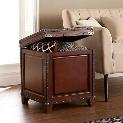 Trunk Side/ End Table Deep Cherry Finish and Rich Espresso Vegan Leather