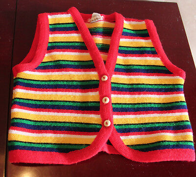 acrylic knit unisex baby top/vest, multi colored, 1970's , size 0. made Germany