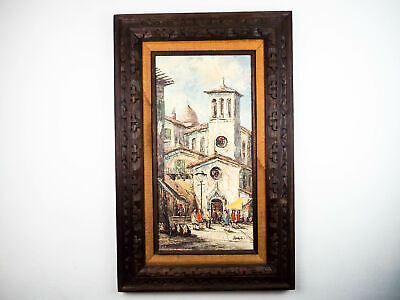 Vintage 1970s Signed Oil On Canvas Painting by Verdyk Street Scene Impressionism